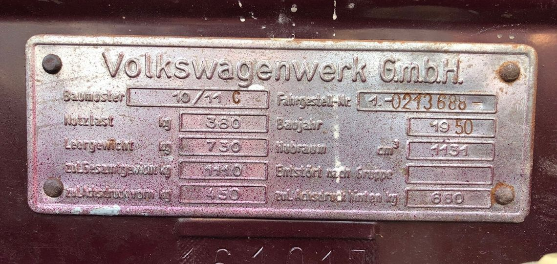 1950 Chassis Plate