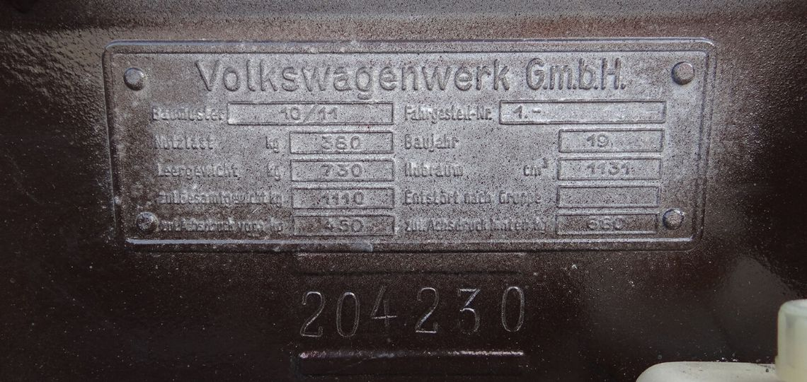1951 Chassis Plate