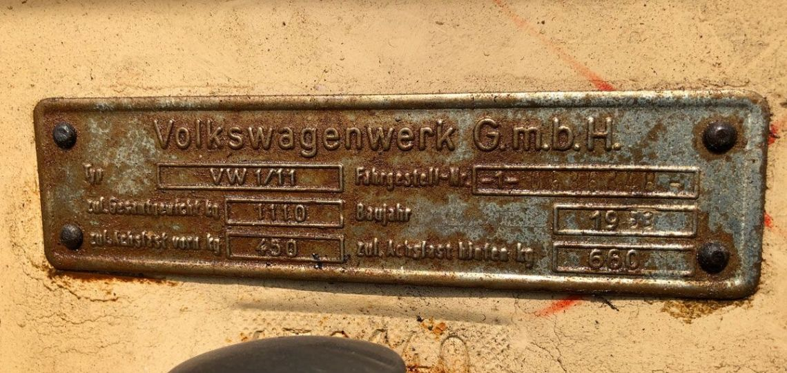 1953 Oval Chassis Plate