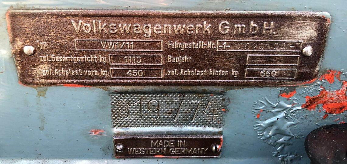 1955 Oval Chassis Plate