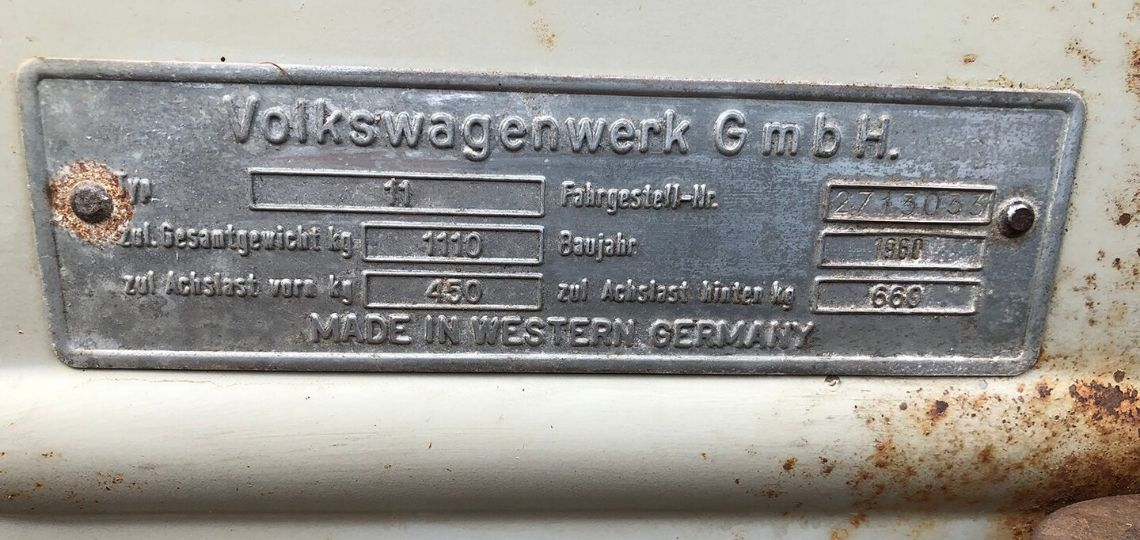 1960 Chassis Plate