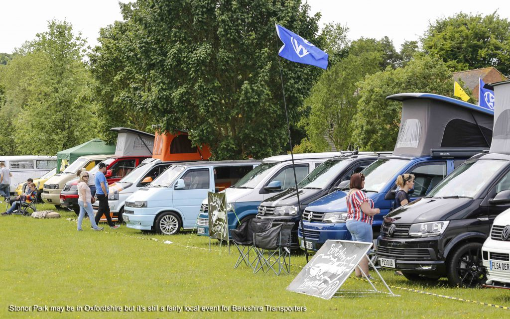 Line of T4 Transporters at Stonor Park VW Show 2019