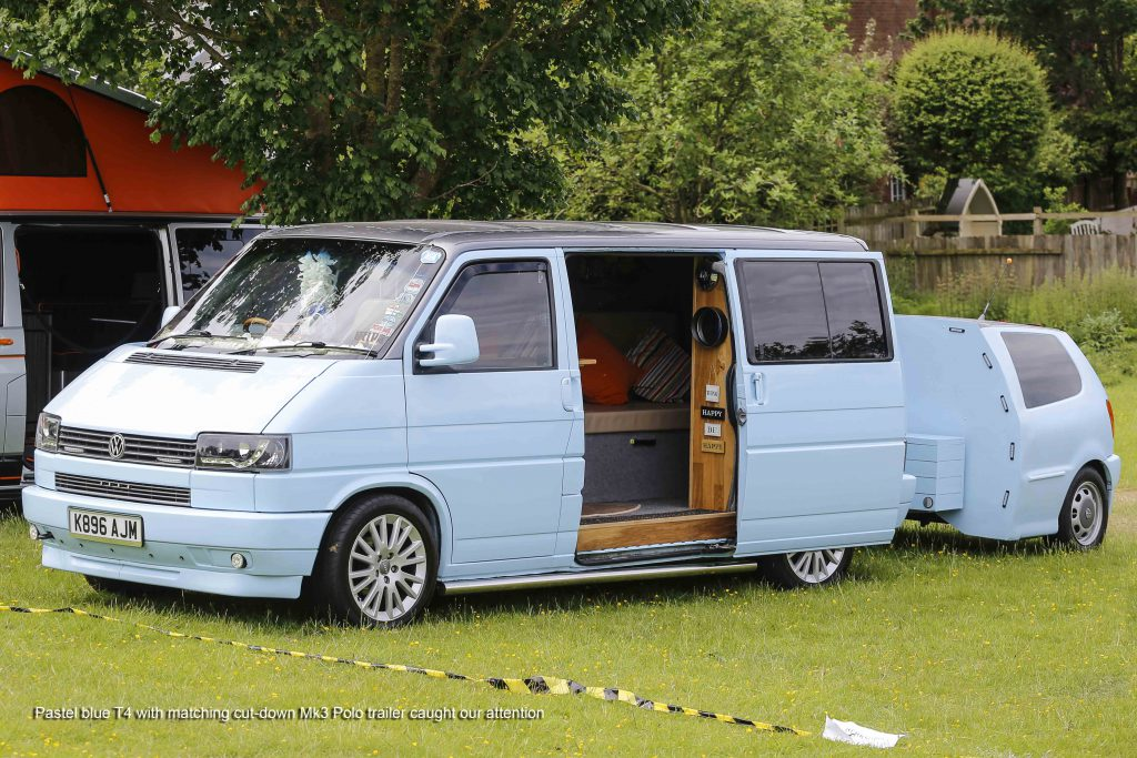 Pastel Blue T4 Transporter with matching trailer
