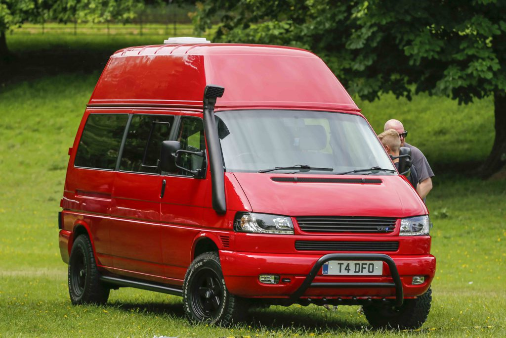 Red High top VW T4 Transporter with snorkel