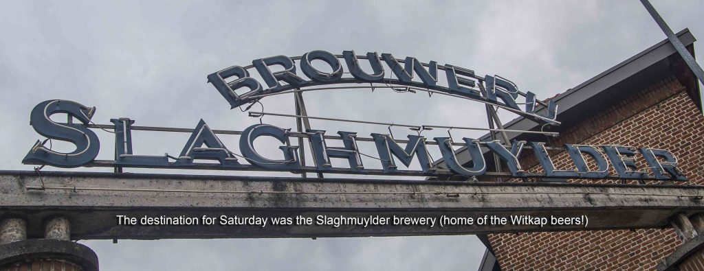 Sign of Slaghmuylder Brewery at Ninove 2019