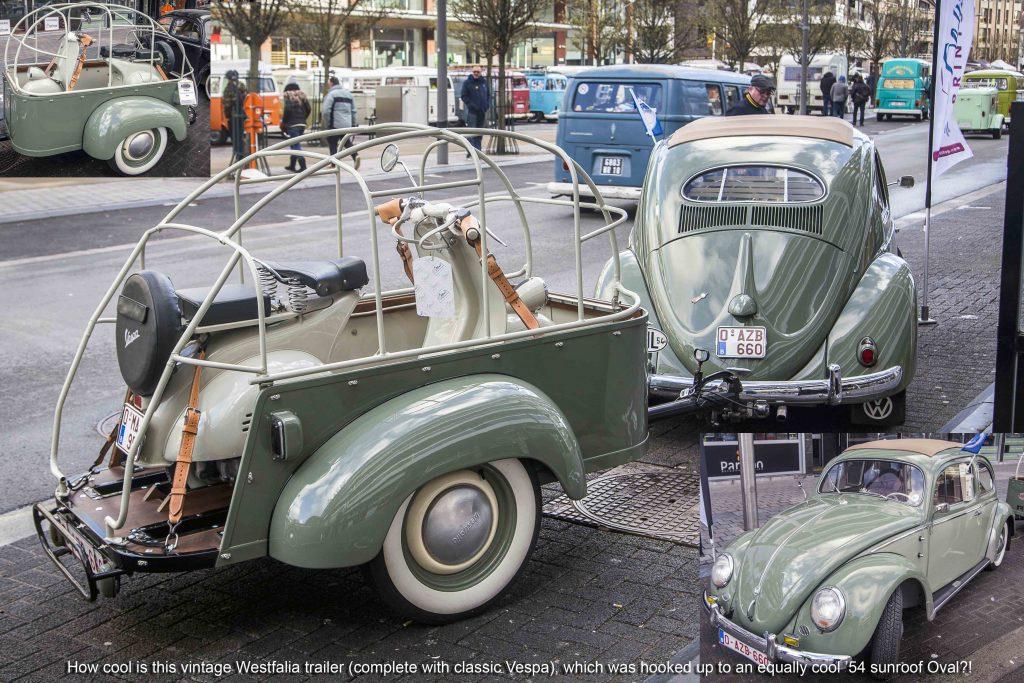 Vintage Westfalia trailer and classic Vespas at Ninove 2019