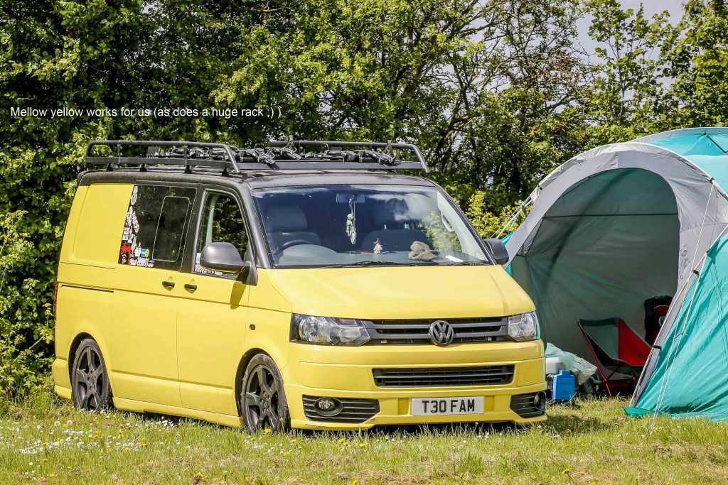 Yellow VW T5 Transporter at VW Tomie 2019