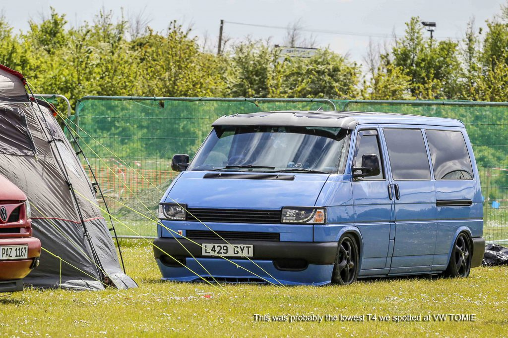 VW T4 Transporter which is very low with black wheels