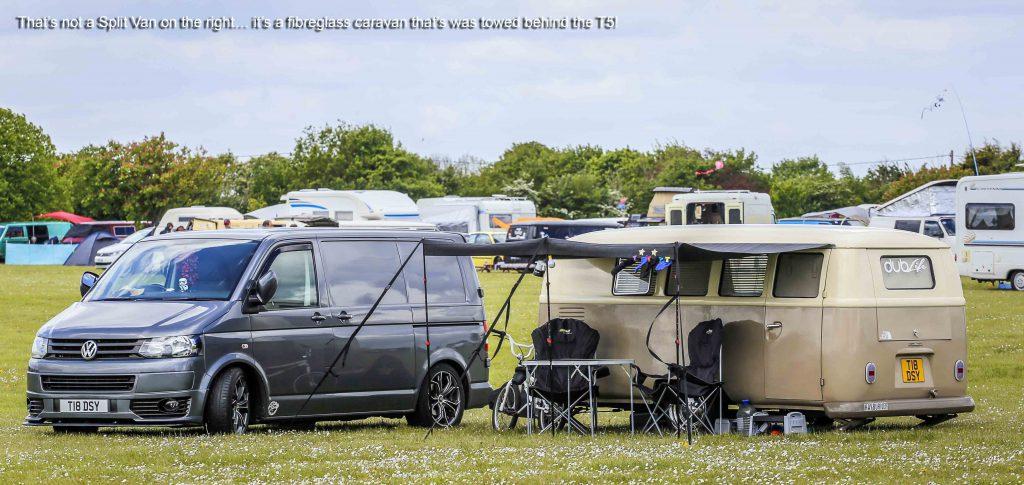 VW T5 Transporter with a Splitscreen Bus Caravan