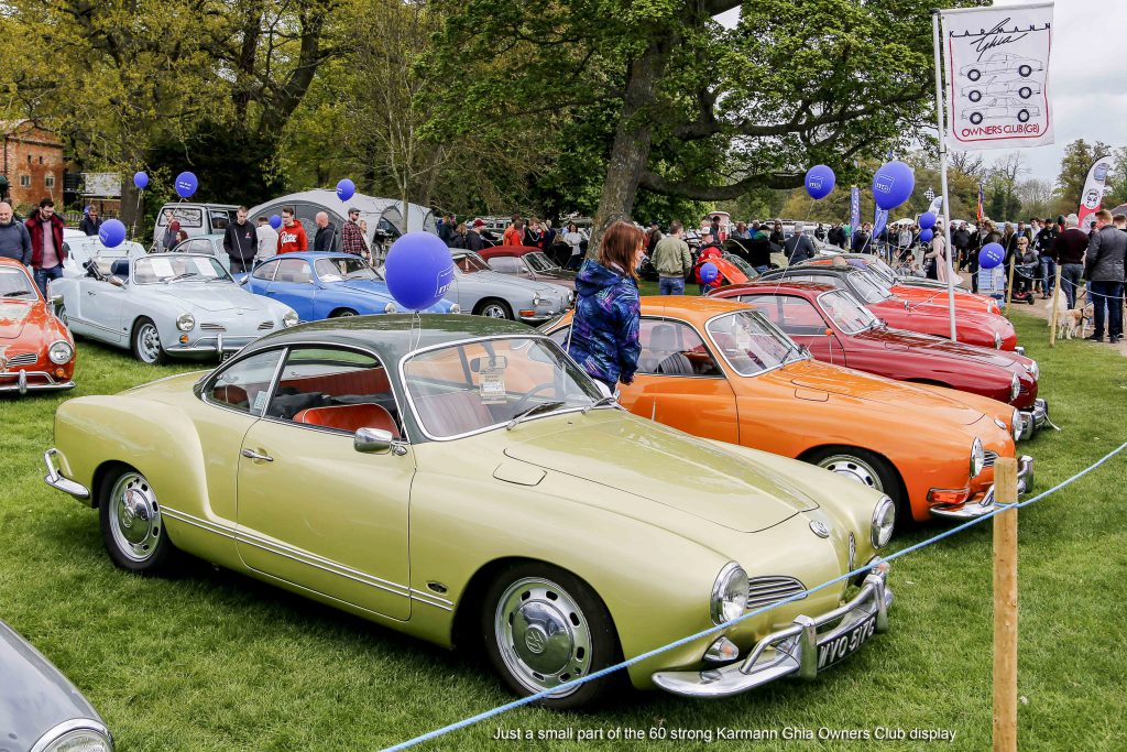 Large group of VW Karmann Ghia's at Stanford Hall 2019