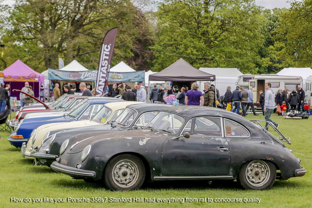 Line of Porsche 356 Cars at Stanford Hall 2019
