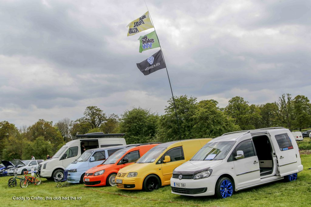 A line of VW Caddy Vans